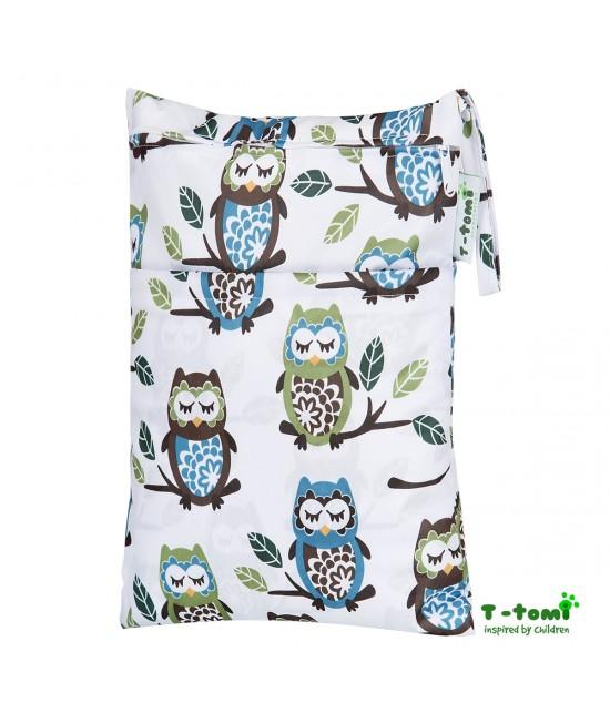 Săculeț impermeabil T-Tomi (wet bag) White Owl cu 2 compartimente și fermoare