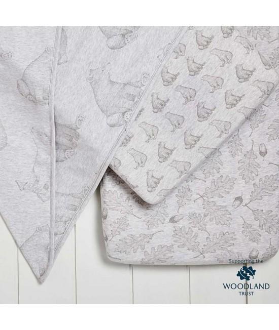 Set de lenjerie de pat din bumbac organic pentru pătuțul de bebeluși SnuzPod - Wild Cotton Bear