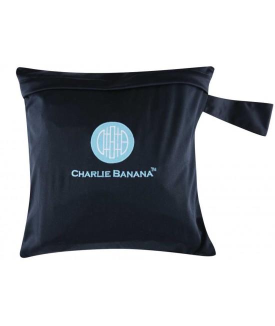 Gentuţă pentru scutece lavabile- wet bag Charlie Banana negru cu broderie albastră