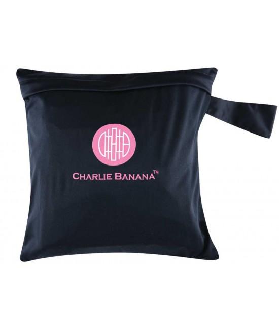 Gentuță pentru scutece lavabile - wet bag Charlie Banana negru cu broderie roz