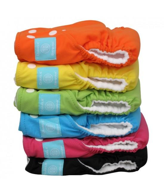 Set economic 6 scutece textile refolosibile Charlie Banana Tutti Frutti