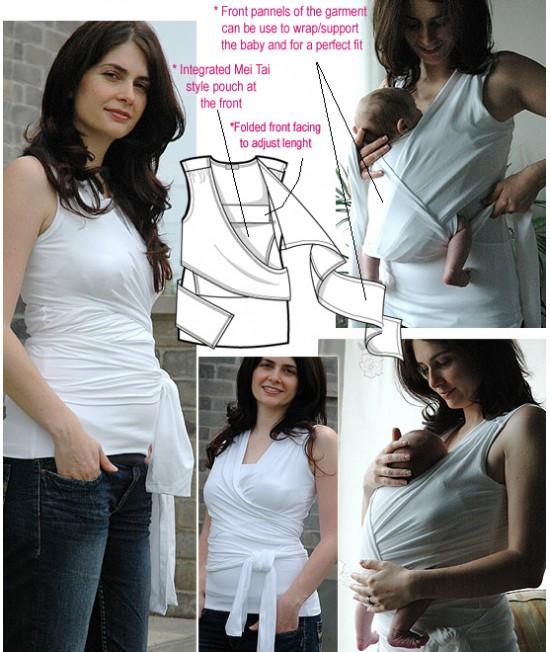 """Maieu """"Mei-Tai-Wrap"""" pentru îngrijirea piele pe piele stil cangur și pentru alăptare Vija Design (alb)"""