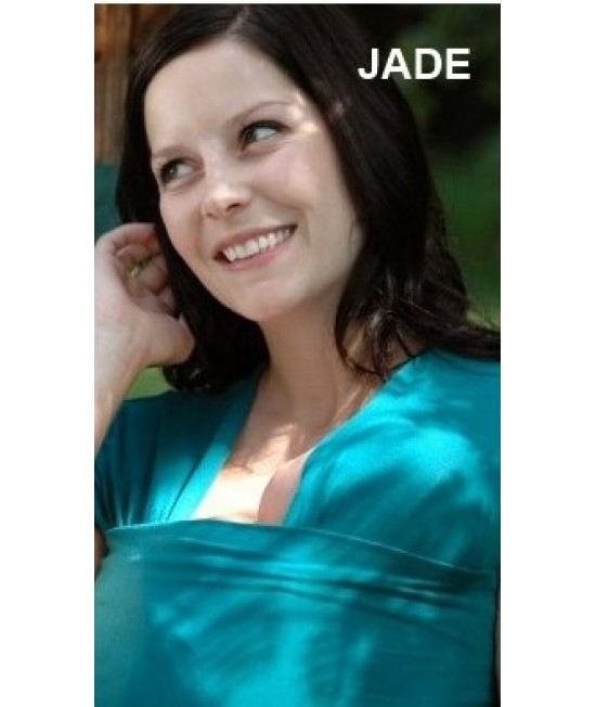 Tricou cu mânecă lungă pentru îngrijirea piele pe piele stil cangur și pentru alăptare Vija Design Jade (turcoaz)