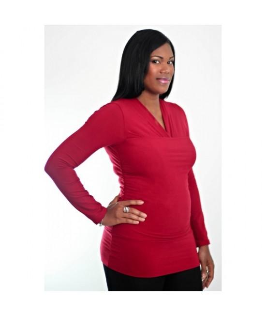 Tricou cu mânecă lungă pentru îngrijirea piele pe piele stil cangur și pentru alăptare Vija Design Dark Red (roșu)