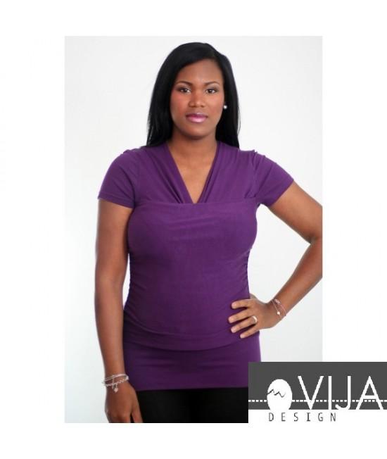 Tricou pentru îngrijirea piele pe piele stil cangur și pentru alăptare Vija Design Plum (mov)