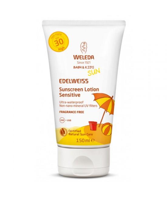 Loțiune de soare cu floare de colț SPF 30 Weleda SUN EDELWEISS Baby & Kids - 150 ml