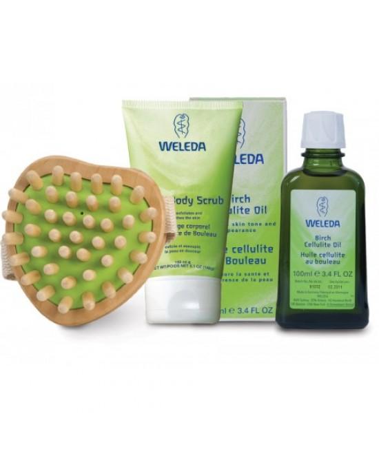 Set natural anti-celulitic Weleda: ulei anti-celulitic de mesteacăn pentru masaj, loțiune de duș exfoliantă, cu perie de masaj și borsetă cadou