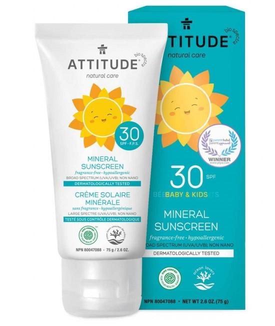 Loțiune minerală ECO de protecție solară pentru copii Attitude SPF 30