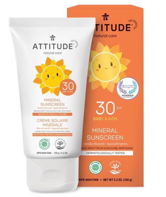 Loțiune minerală ECO de protecție solară pentru copii Attitude Vanilie SPF 30
