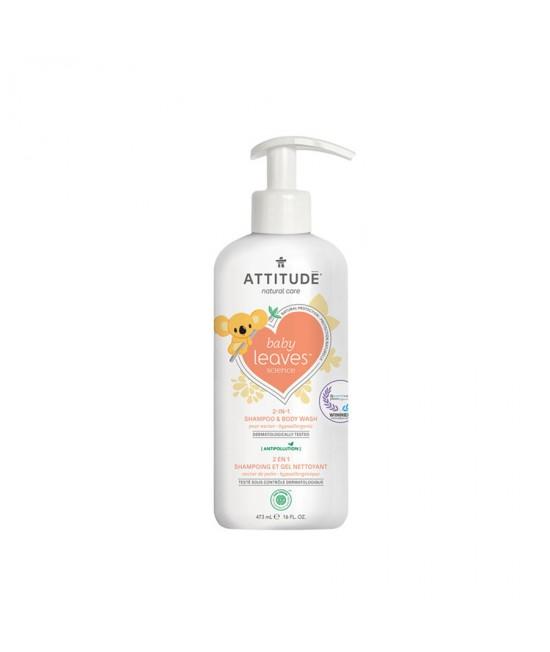 2 în 1 Șampon și gel de duș ECO pentru copii și bebeluși - Attitude cu nectar de pere - 473 ml - seria Baby Leaves