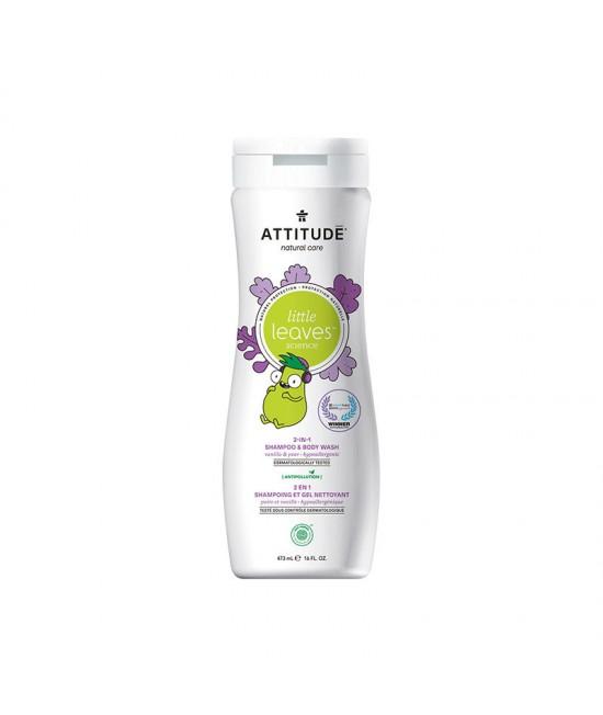 2 în 1 Șampon și gel de duș ECO pentru copii și bebeluși - Attitude cu vanilie și pere - 473 ml - seria Little Leaves