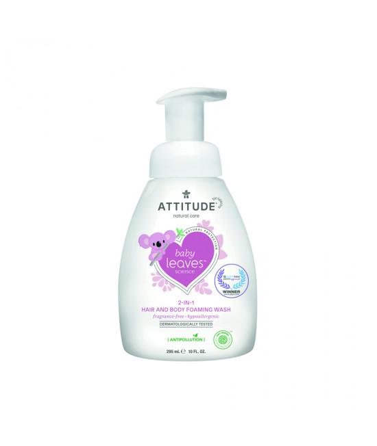 2 în 1 Spumă pentru păr și corp (Șampon și gel de duș) ECO pentru copii și bebeluși - Attitude fără miros - 295 ml - seria Baby Leaves