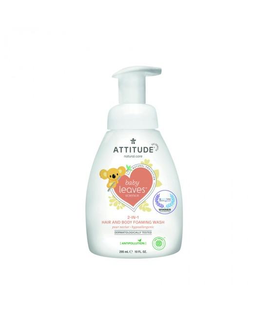 2 în 1 Spumă pentru păr și corp (Șampon și gel de duș) ECO pentru copii și bebeluși - Attitude cu nectar de pere - 295 ml - seria Baby Leaves