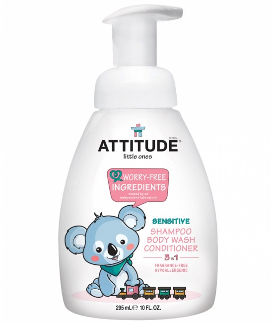 3 în 1 Șampon, balsam și gel de duș ECO pentru bebeluși - Attitude FĂRĂ MIROS - 300 ml