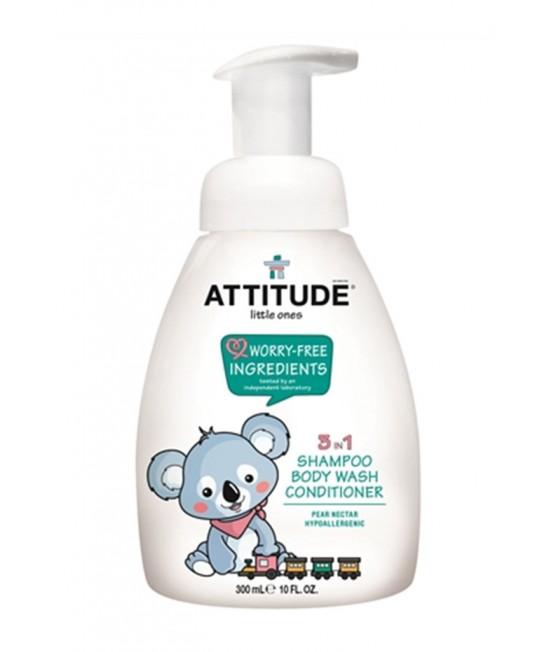 3 în 1 Șampon, balsam și gel de duș ECO pentru bebeluși - Attitude cu nectar de pere - 300 ml