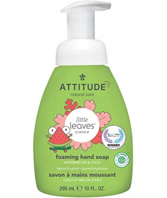 Săpun lichid de mâini ecologic cu spumă, pentru copii, Attitude cu pepene și cocos - seria Little Leaves
