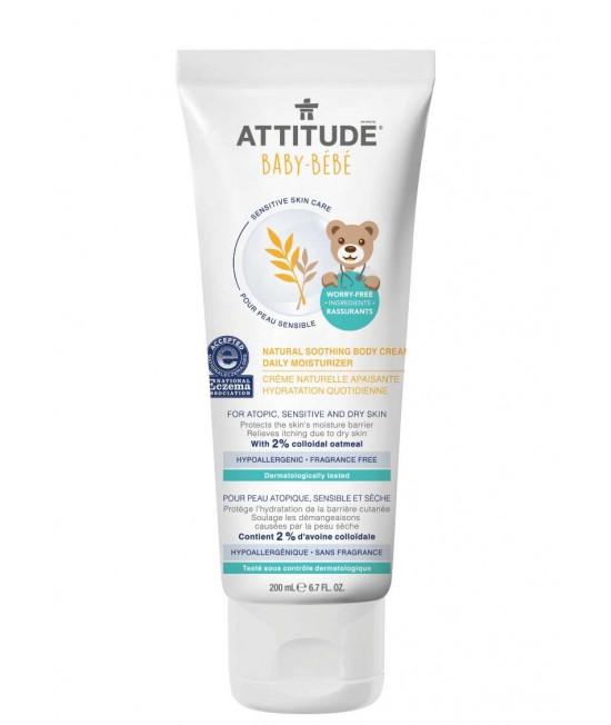 Cremă calmantă hidratantă pentru uz zilnic Attitude ECO SENSITIVE pentru bebeluși cu piele sensibilă sau dermatită - FĂRĂ MIROS - 200 ml