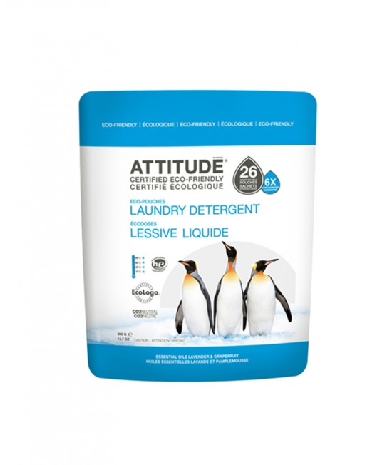 Detergent ecologic lichid de rufe sub formă de pernițe Attitude cu lavandă și grapefruit - 1+1 GRATIS
