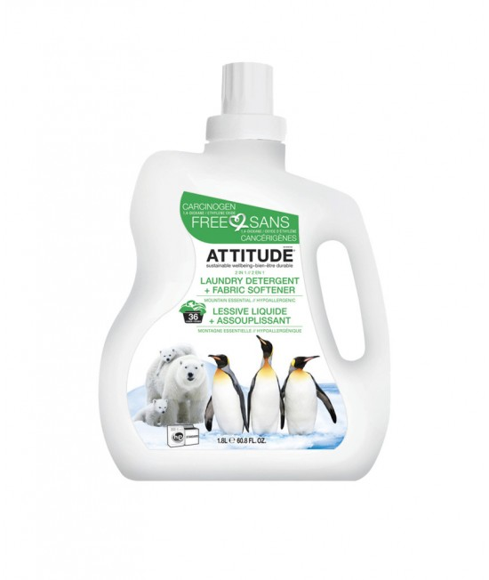 2 în 1 Detergent lichid și balsam ecologic de rufe dublu concentrat Attitude cu aromă montană - 1,8 litri