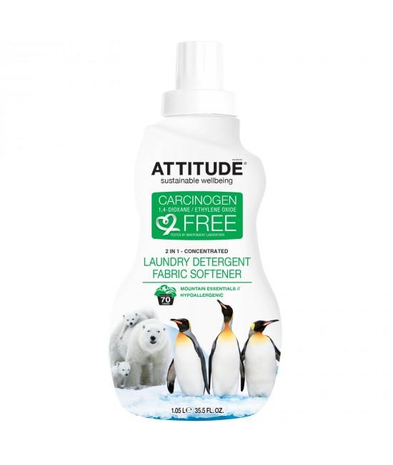 2 în 1 Detergent lichid și balsam ecologic de rufe dublu concentrat Attitude cu aromă montană - 1 litru