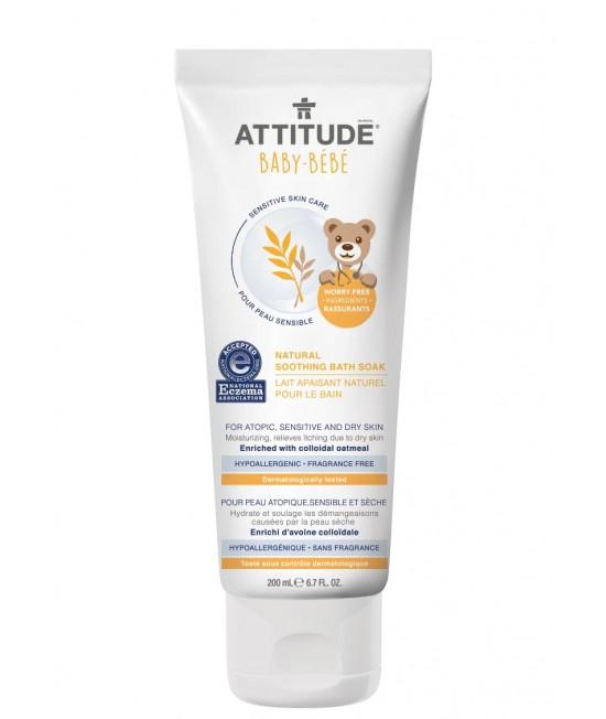 Lapte de baie calmant Attitude ECO SENSITIVE pentru bebeluși și copii cu piele sensibilă sau dermatită - FĂRĂ MIROS - 200 ml