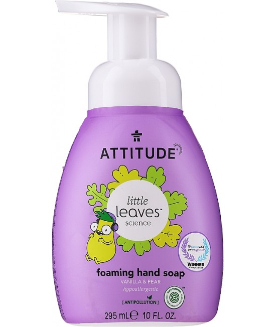 Săpun lichid de mâini ecologic cu spumă, pentru copii, Attitude cu vanilie și pere - seria Little Leaves