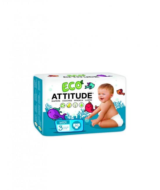 Scutece ecologice de unică folosință Attitude Nr. 3 (5-11 kg) - 30 bucăți