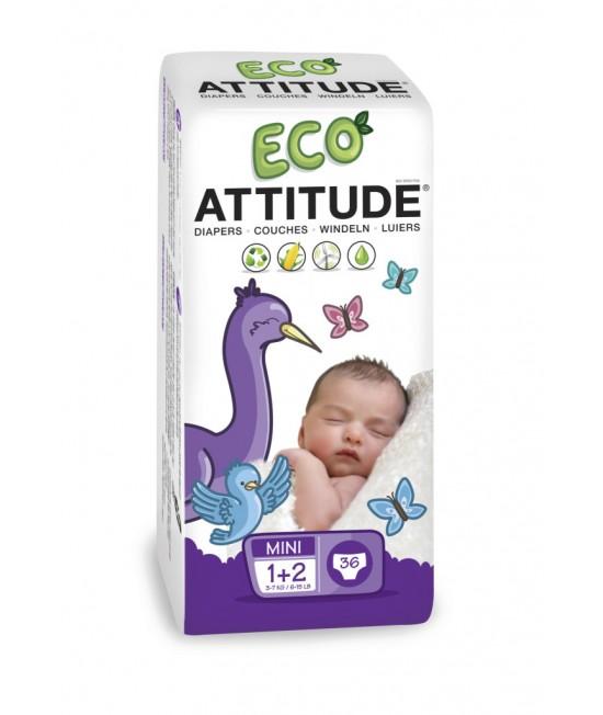 Scutece ecologice de unică folosință Attitude Nr. 1-2 (3-7 kg) - 36 bucăți