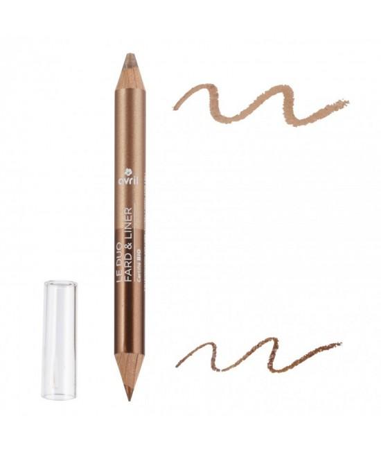 Creion BIO pentru ochi DUO (kajal+fard de pleoape) Bronz și Bej Auriu Avril