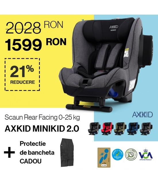 Scaun Auto Rear Facing Axkid Minikid 2.0 pentru 0-25 kg (cu spatele la sensul de mers) + Protecție pentru banchetă cadou!