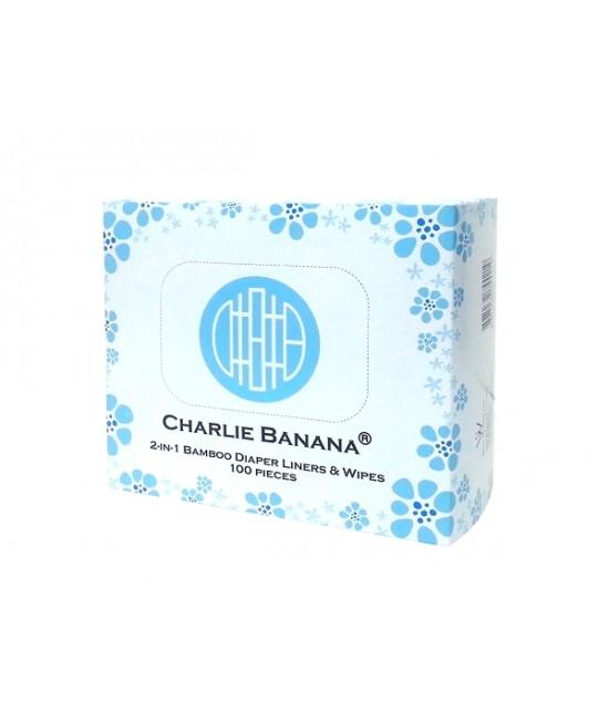 Linere (hârtie de protecţie) Charlie Banana pentru scutece refolosibile - acum în cutie 2 în 1 și cu rol de șervețele, 100 de bucăți din bambus
