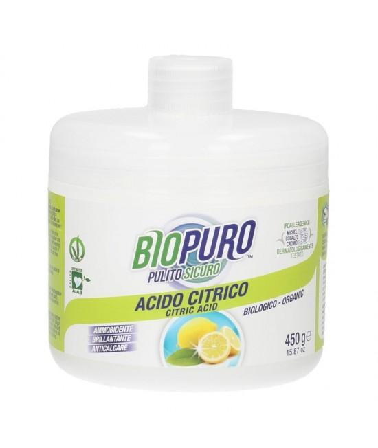 Acid citric ecologic Biopuro pentru menaj (balsam de rufe, agent de limpezire pentru vase, detartrant pentru casă) - 450 gr