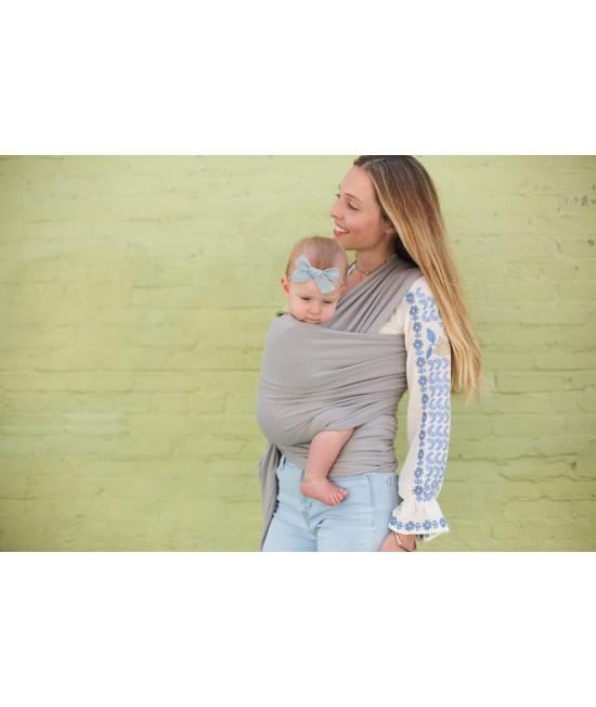 Wrap elastic din bambus pentru purtarea bebelușilor - Boba Light Grey