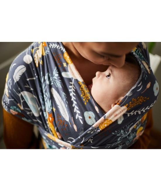 Wrap elastic pentru purtarea bebelușilor Boba ediție limitată Feathers and Flowers