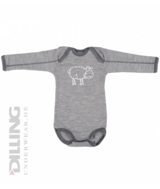 Body gri cu mânecă lungă din lână Merinos organică Dilling Underwear