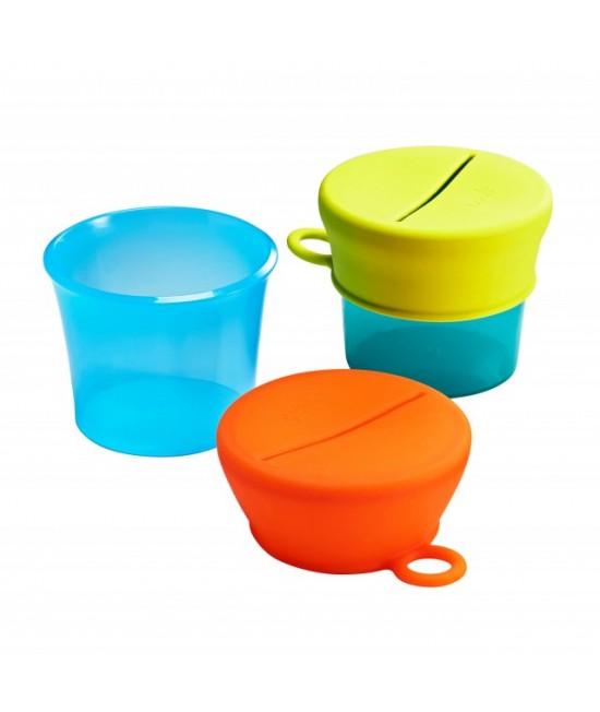 Set 2 caserole fără BPA cu capace din silicon pentru gustări BOON Snug Snack