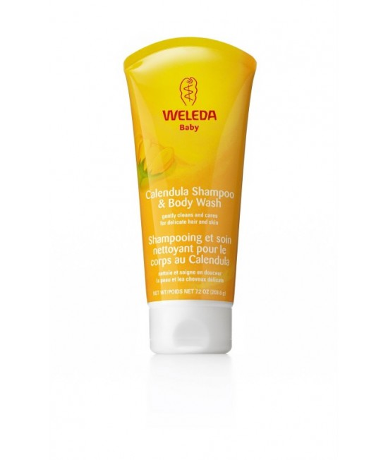 Loțiune de curățare (gel de duș) și șampon de gălbenele Weleda Baby