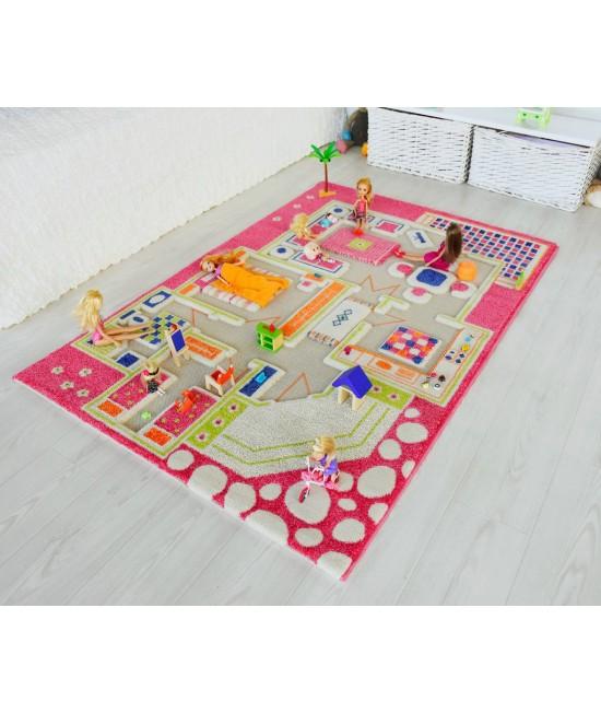 Covor de joacă pentru copii 3D - IVI Playhouse Pink 100 x 200