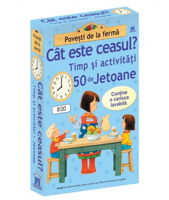Cât este ceasul - Timp și activități - 50 Cartonașe Usborne în limba română cu cariocă scrie-șterge