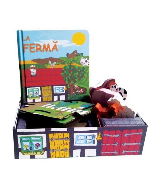 La fermă - Set carte + puzzle + jucării figurine din lemn