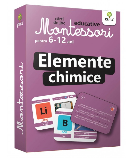 Elemente chimice - Cărți de joc educative Montessori pentru 6-12 ani