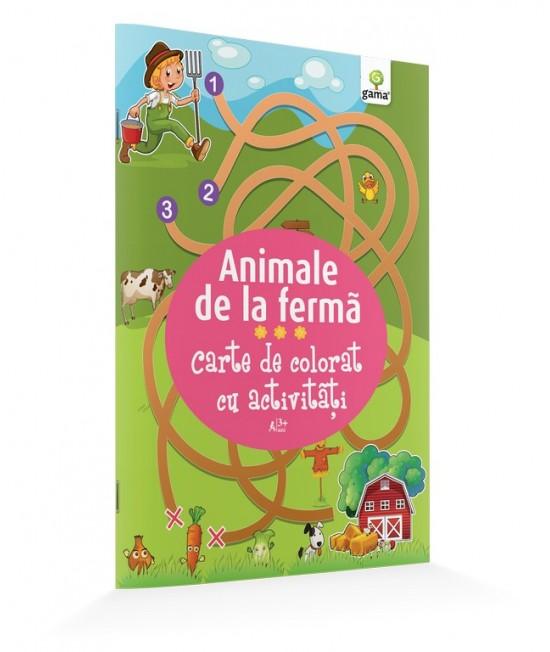 Animale de la fermă - Carte de colorat cu activităţi