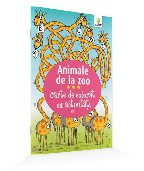 Animale de la Zoo - Carte de colorat cu activităţi