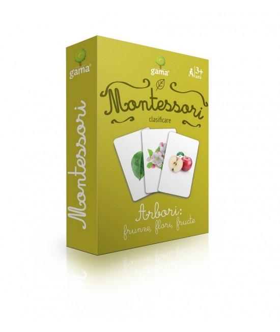 Arbori: frunze, flori, fructe - Cărți de joc bilingve Montessori - clasificare