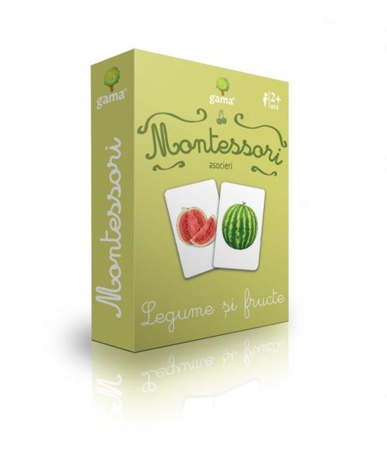Legume și fructe - Cărți de joc bilingve Montessori - Asocieri