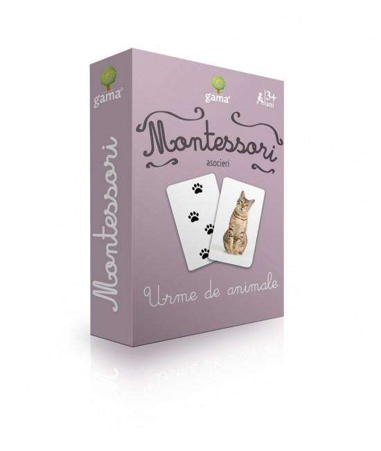 Urme de animale - Cărți de joc bilingve Montessori - Asocieri