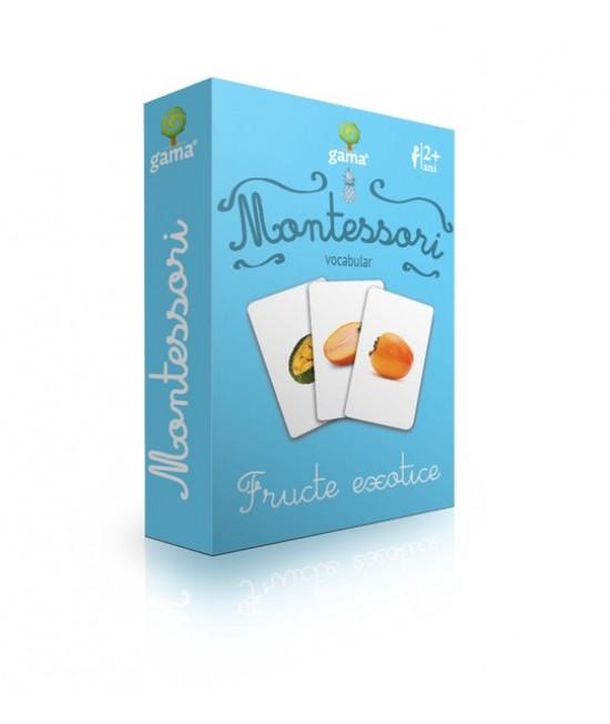 Fructe exotice - Cărți de joc bilingve Montessori - Vocabular