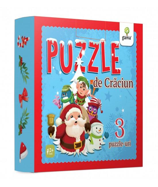 Puzzle Crăciun (trei puzzle-uri educative de 9, 12 și 16 piese)