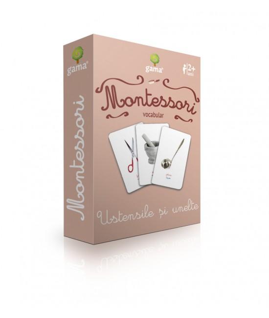 Ustensile și unelte - Cărți de joc bilingve Montessori - Vocabular