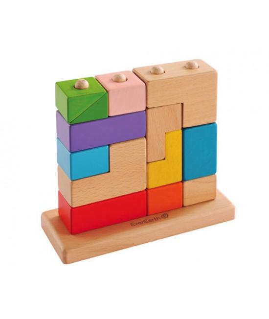 Puzzle 3D EverEarth cu 13 cuburi de lemn de stivuit